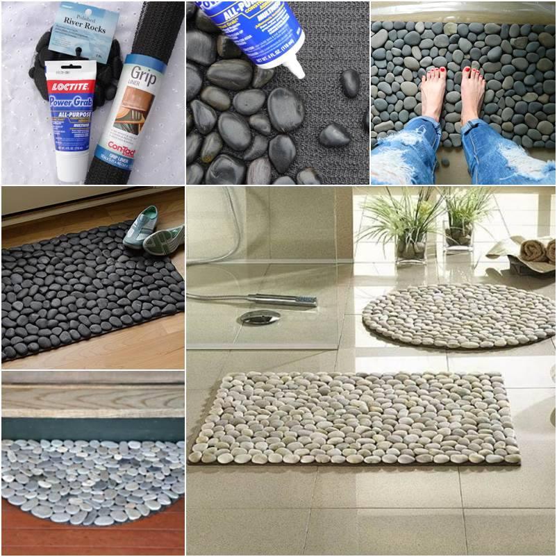 unique floor mat of stones