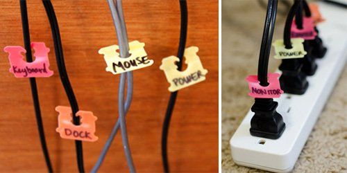 Bread tags make the perfect-sized cord labels