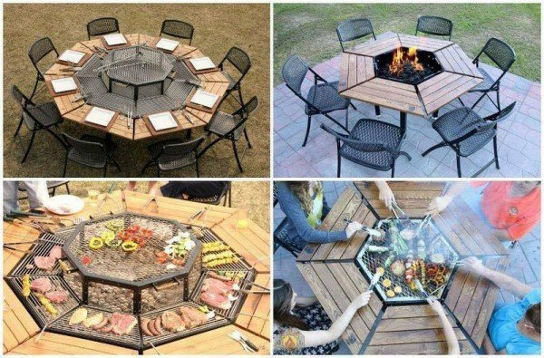 Creative Multi-Purpose Jag Grill Firepit BBQ TableGrill Firepit BBQ Table