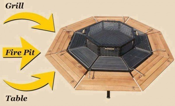 Creative Multi-Purpose Jag Grill Firepit BBQ Table