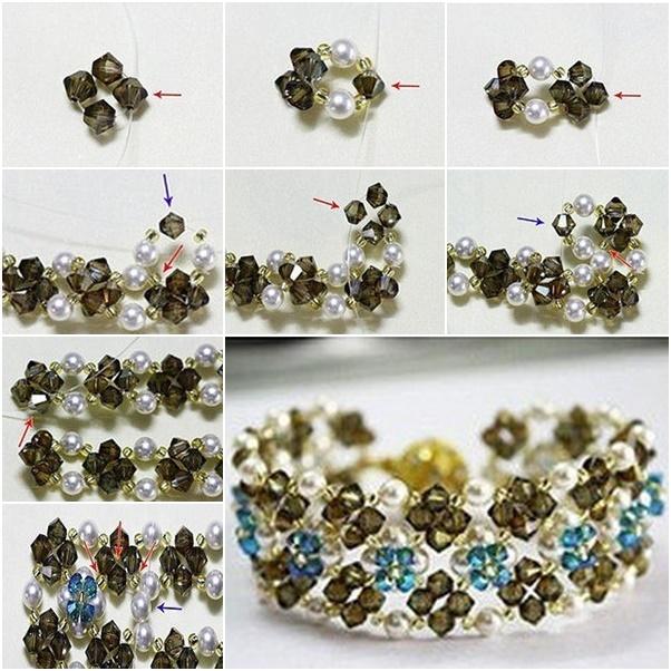 Crystal Flower Bed Bracelet