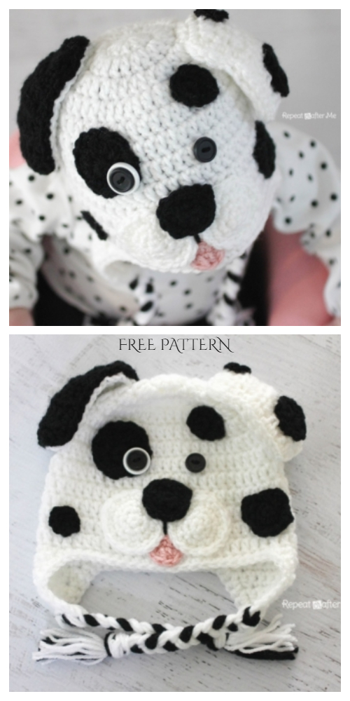 Cute Dalmatian Dog Baby Hat Free Crochet Pattern