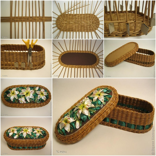 How To Weave A Basket Diy : How to diy beautiful woven basket from paper tube and ribbon