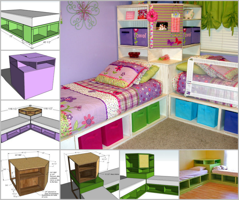 DIY Space Saving Corner Twin Beds Set