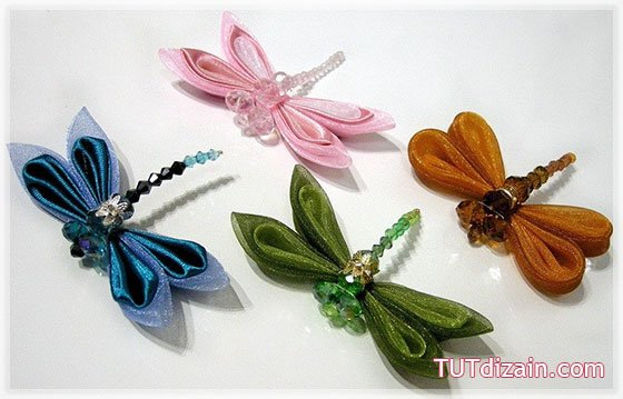 Diy Cute Kanzashi Ribbon Bead Dragonflies