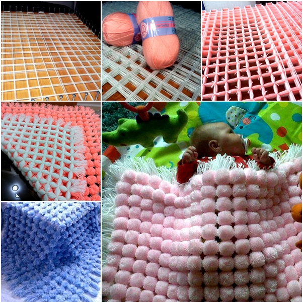 How to diy easy and fun pom pom blanket diy fluffy pom pom baby blanket t solutioingenieria Images