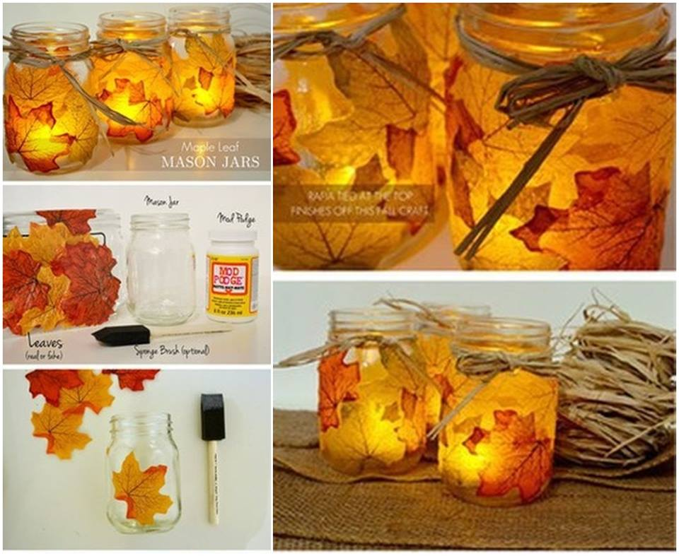DIY Leaf Mason Jar lattern with video