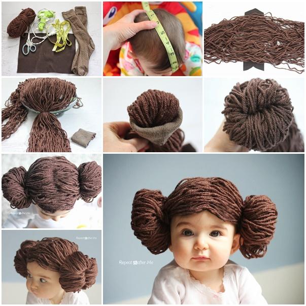 DIY Adorable Princess Leia Yarn Wig Tutorial