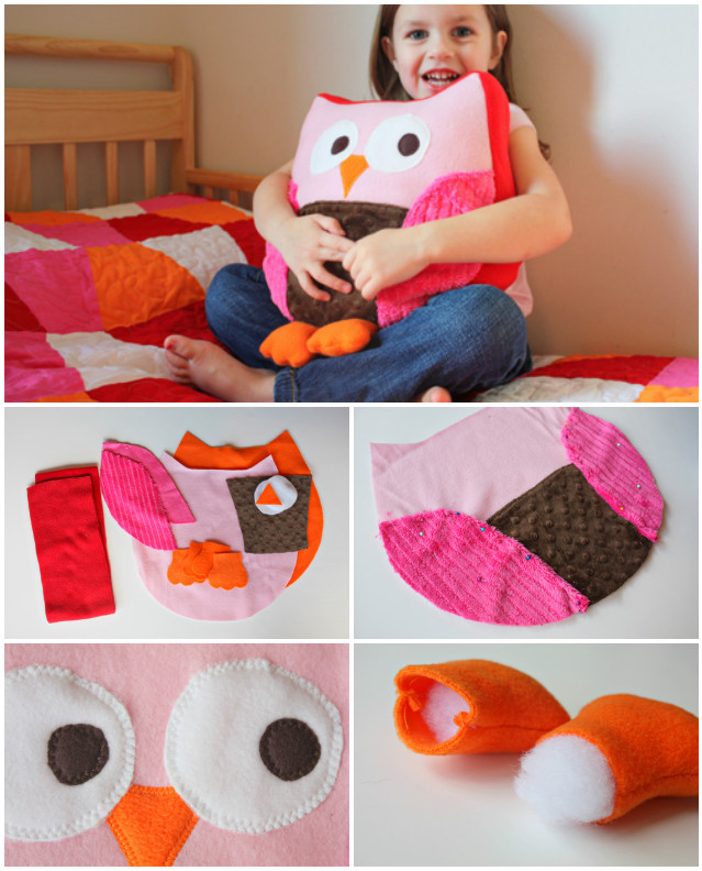 DIY Owl Pillow Cushion Sew Pattern Free Tutorial