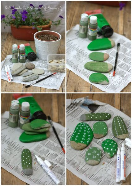 DIY Painted Rock Cactus Tutorials: Paint Rock Cactus, Faux Cactus in flower pot