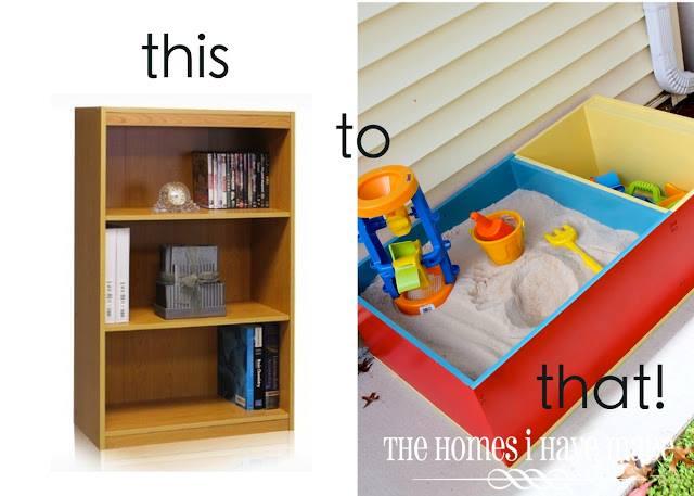 DIY Sandbox from old bookshelf