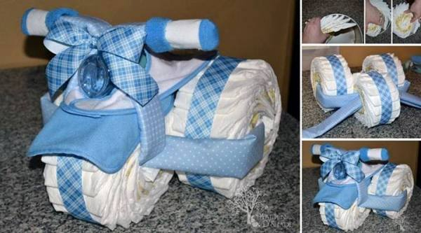How To Make A Baby Boy Tricycle Diaper Cake