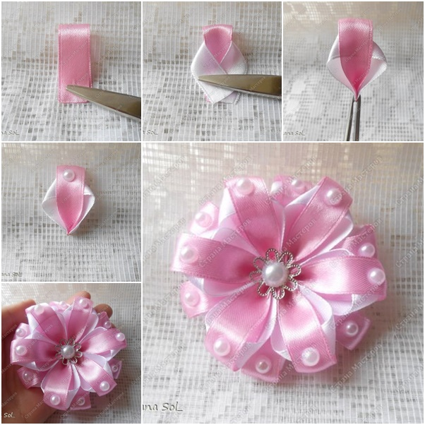 DIY Two-tone Ribbon Flower with pearls tutorial