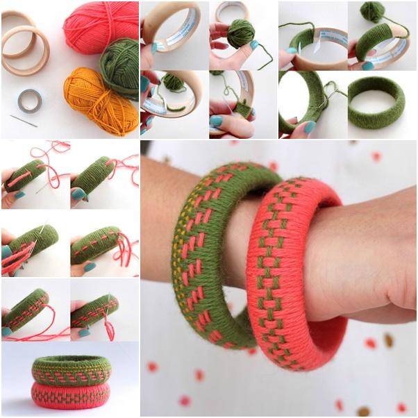 How To Diy Fun Woven Yarn Bangles Diy Tutorials