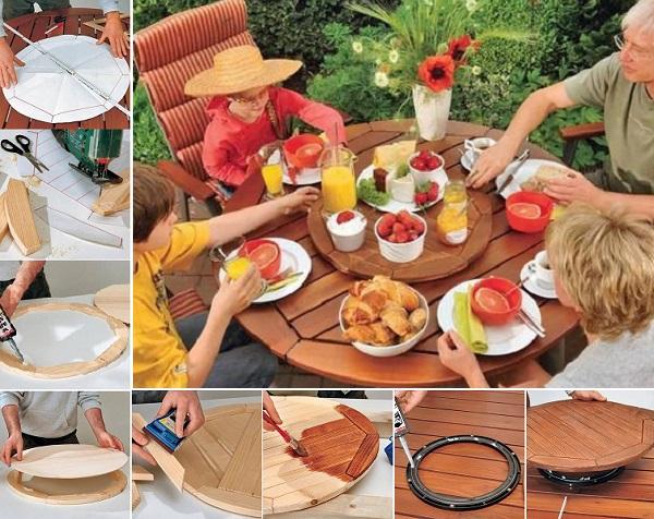 DIY round tabletop lazy susan
