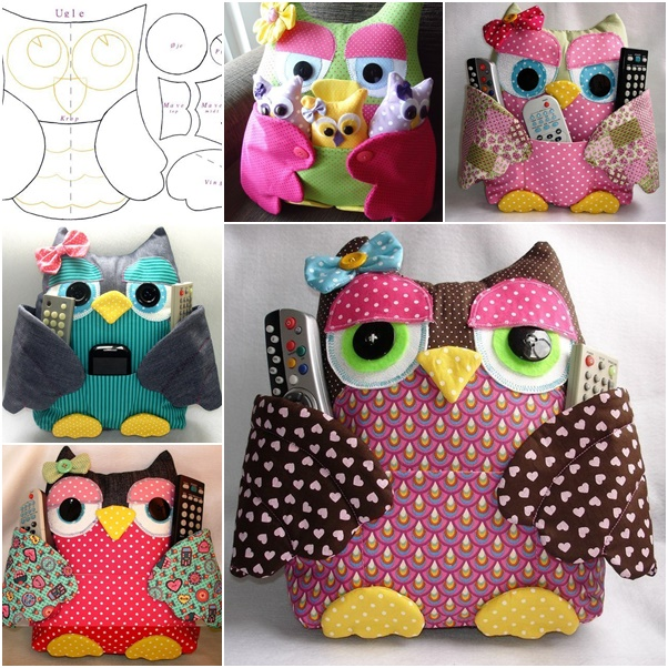 Sew Owl Pillow Pattern, Owl Cushion with Pocket, Remoter Owl Snuggle Cozy Free Pattern