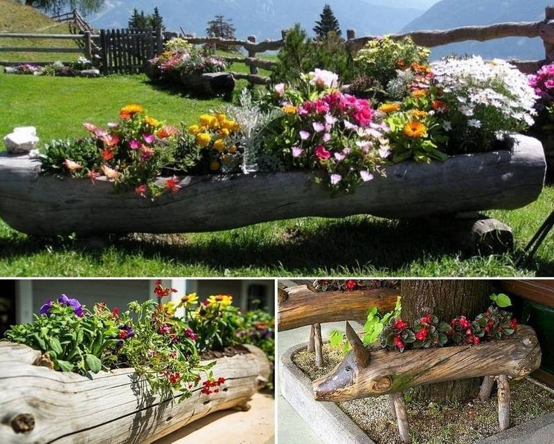 How to DIY Hollowed Tree Log Planters Tutorial