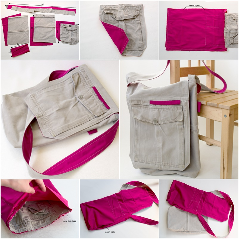 How To Diy Fabric Messager Bag From Old Cargo Pant