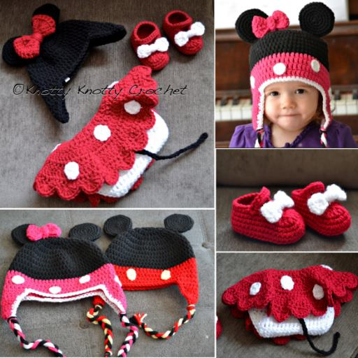 Mickey Minnie Mouse Crochet hat and boots
