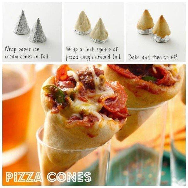 Pizza In a Cone - DIY Pizza Cones Recipe