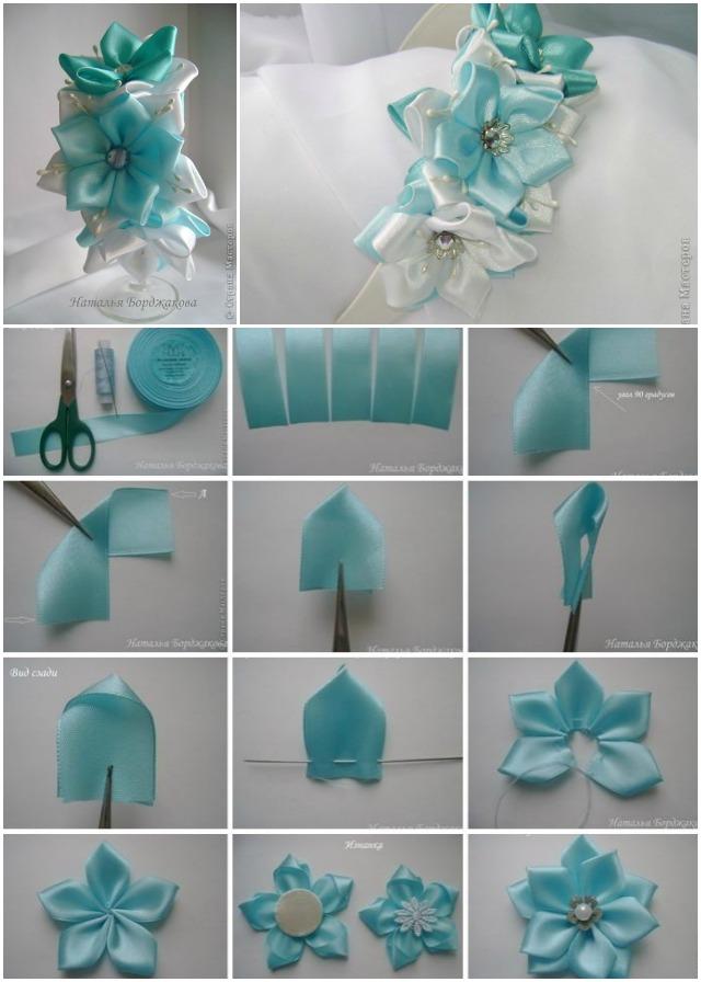 Diy pretty kanzashi ribbon flower hairband diy satin ribbon flower hairband mightylinksfo