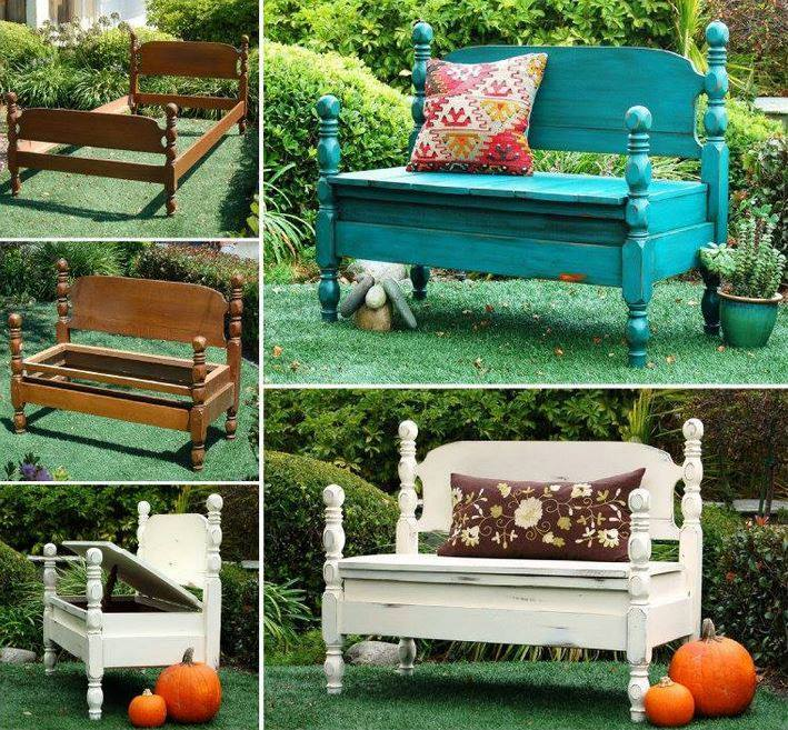 Upcycle an old bed into a fabulous new bench with storage