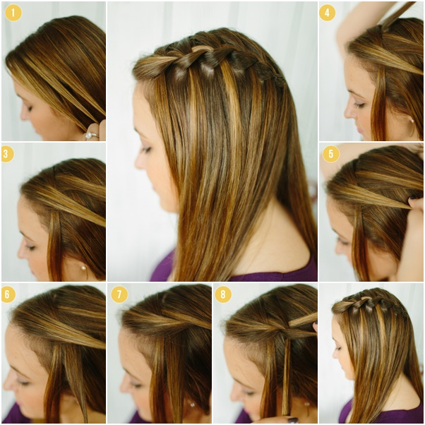 DIY Waterfall braid Hairstyle in the back to the side down