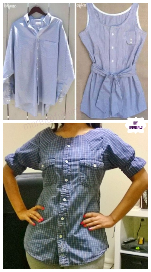 Creative Ideas to Repurpose Old Shirts into New Fashion - Men Shirt into Women Top