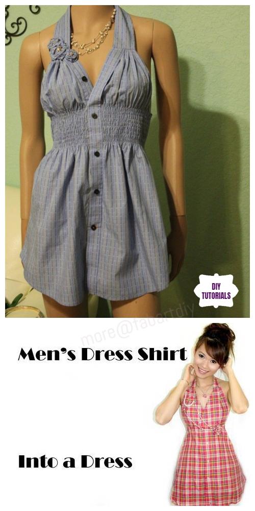 Creative Ideas to Repurpose Old Shirts into New Fashion - Men Shirt into Women Halter Dress Tutorial