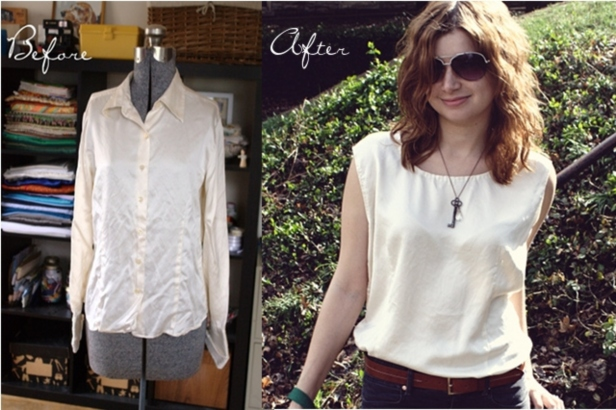 Creative Ideas to Repurpose Old Shirts into New Fashion - Silk Shirt into Summer Top
