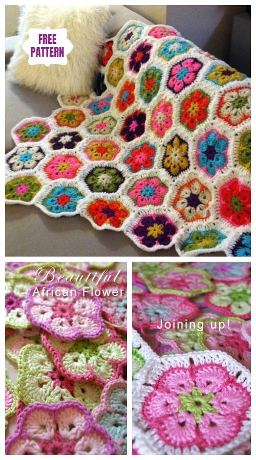 Crochet African Flower Blanket Free Crochet Pattern