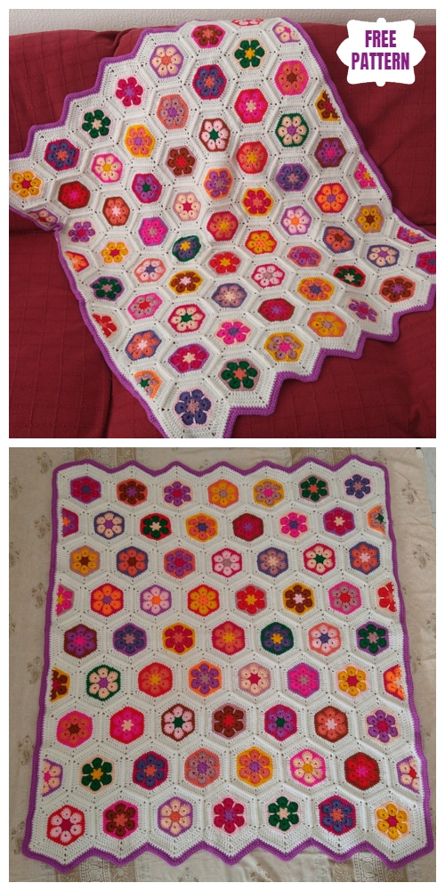 Colourful African Flower Baby Blanket Free Crochet Pattern
