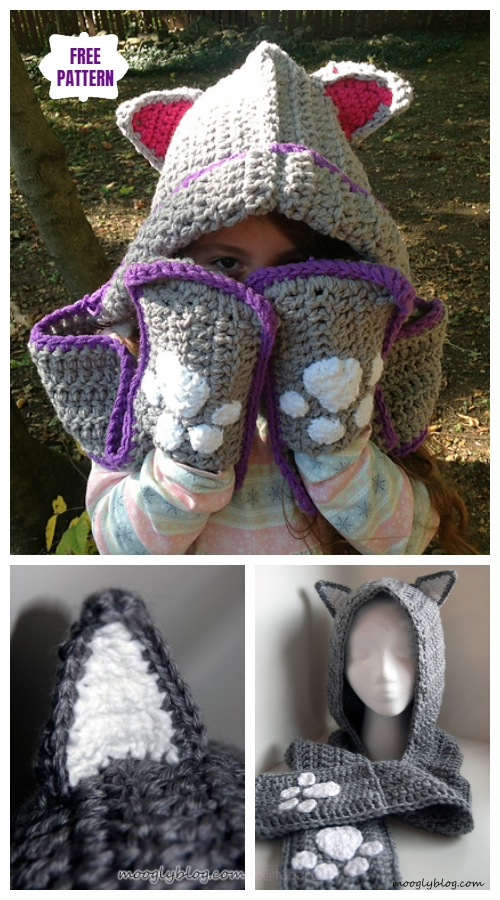 Crochet Cuddly Cat Scoodie with Pockets Free Crochet Pattern