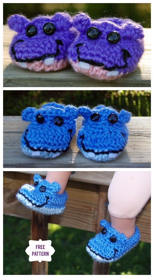 Crochet Hippo Baby Booties Free Pattern