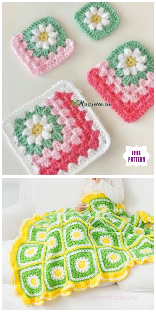 Crochet Daisy Flower Blanket Free Crochet Patterns & Video