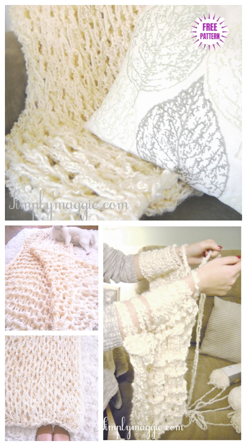 DIY Arm Knit Blanket Free Knitting Pattern in 45 Minutes - Video