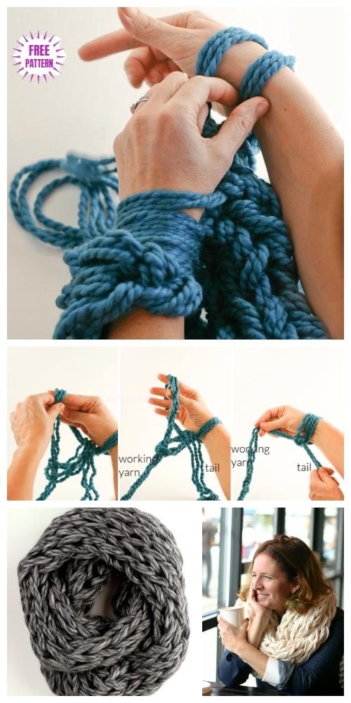 DIY Arm Knitting Scarf Tutorial - Video