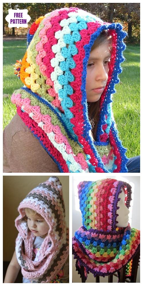 DIY Harlequin Granny Crochet Hooded Cowl Free Pattern