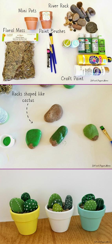 DIY Painted Rock Cactus-Faux Rock Painting Tutorial