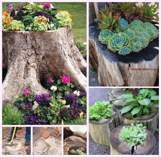 DIY Tree Stump Planters Tutorial