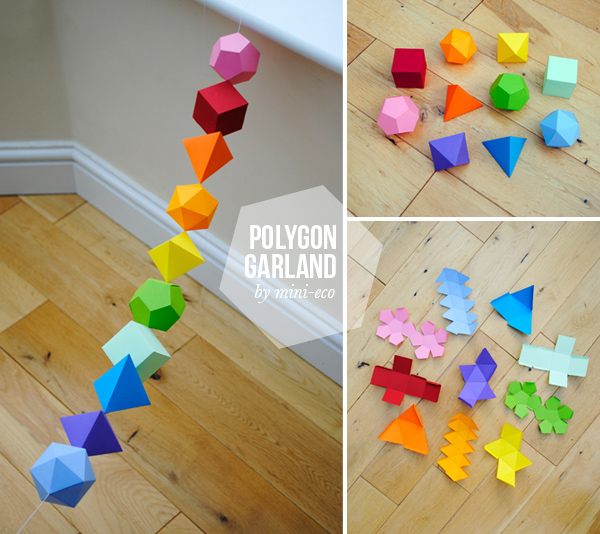 how to diy colorful geometric garland from template