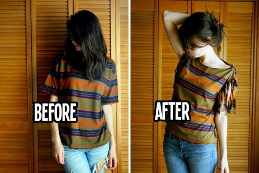 How-to-do-no-sew-t-shirt-restyle