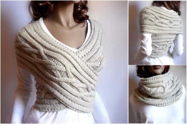 How to DIY cable knit sweater cowl vest Waistcoat pattern - video