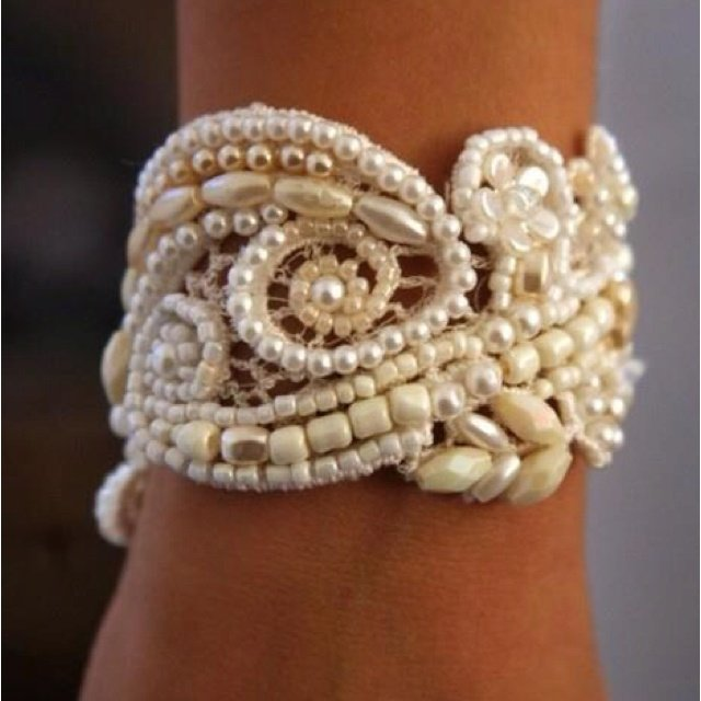 DIY Pearl and Bead Lace Bracelet Cuff