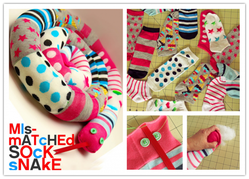 DIY mismatch sock snake tutorial