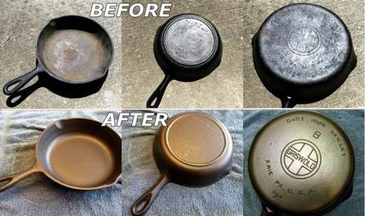 recondition rusty cast iron cookware