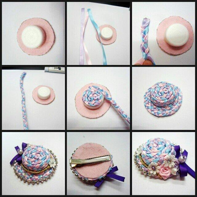 woven ribbon hat from plastic cap