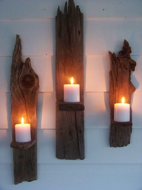 34 DIY Projects You Need To Make This Spring14-DIY Driftwood wall candle