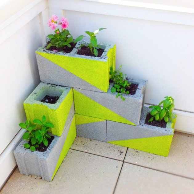34 DIY Projects You Need To Make This Spring15-Neon concrete block planter