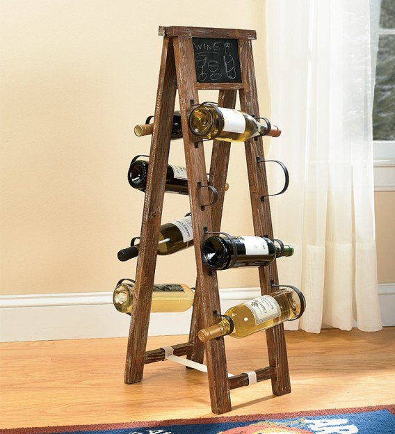 34 DIY Projects You Need To Make This Spring4 - Wine rack from repurposed ladder